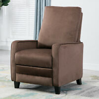 Modern Manual Recliner Chair Linen Track Arm Push Back Living Room Chocolate