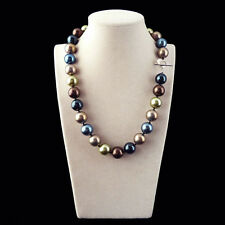 Rare Huge 12mm Genuine Multicolor Round South Sea Shell Pearl Necklace 18''AAA+