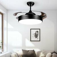 "Modern 42"" Retractable Ceiling Fan Lamp w/ Light LED Chandelier w/Remote Control"