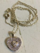 925 Sterling Silver Vermeil 16 Inch Chain With Heart CZ Pendant