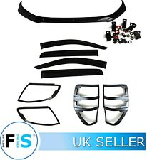 FORD RANGER RAPTOR T6 12-15 BLACK FULL BODY BONNET LIGHT TRIM KIT COVERS