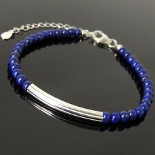 Men's Women Bracelet 4mm Lapis Lazuli 925 Sterling Silver Charm Clasp Link 1256