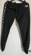 Pink By Victoria's Secret Black Cuffed Tracksuit Bottoms Size S