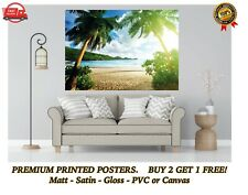 More details for tropical beach palm tree sand sea large poster art print gift a0 a1 a2 a3 a4