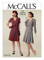 M7433 1940s forties style tea dress SEWING PATTERN, McCall's size 6-22 vintage
