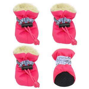 4pcs Waterproof Pet Dog Shoes Anti-slip Puppy Snow Boots Fleece Footwear Socks