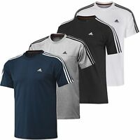 New adidas Mens Essentials 3-Stripes Crew Neck T-Shirt S M L XL