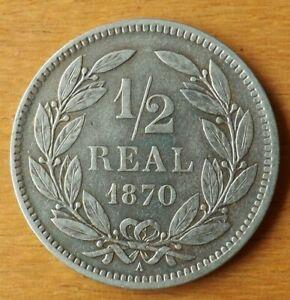 Honduras South America 1/2 Real Coin 1870 AEF Grade Lustre Toned Scarce