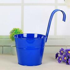 Hgmart Metal Flower Pots - Vertical Hanging Planters Iron Pots for Balcony, Blue