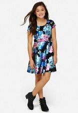 Justice Girl's Black Metallic Foil Floral Scuba Fit & Flare Dress Size 7 NWT