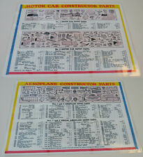 Meccano Motor Car & Aeroplane Constructor Parts List. A4 Laminated Card. Repro.