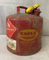 Authentic Vintage Red Yellow EAGLE 5 Gallon Industrial Galvanized Steel Gas Can