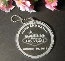 Custom Las Vegas Wedding Acrylic Key Chain Favors - Qty 25 keychain