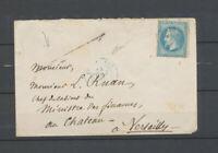 1871 Env. N°29 obl C 15 bleu pour le château de versailles Rareté TB X5108