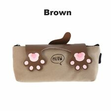 Cute Cat Paws Canvas Large Capacity Pencil Bag Stationery Storage Organizer Case Brown