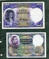 LOTE 2 BILLETES PESETAS 50 DE 1931 Y 100  DE 1931 LOS DOS EBC
