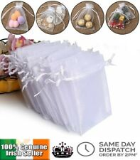 White Organza Favour Bags Wedding Party Cake Sweets Drawstring Gift Bag 9 x 12cm