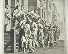 Saint Bruno le Chartreux distribuant aux pauvres Gravure religieuse XVIIIe