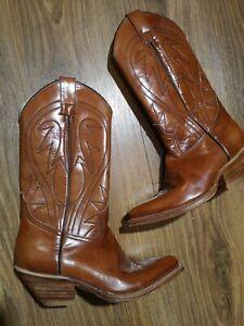 Brown Leather Vintage Cowboy Boots Size Uk5