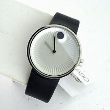 Movado Men's Swiss Sport Edge Black Leather Strap Quartz Watch Stainless Box