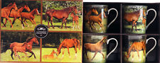 Horses In Field China Mugs / Cups - In Gift Box Set of Four