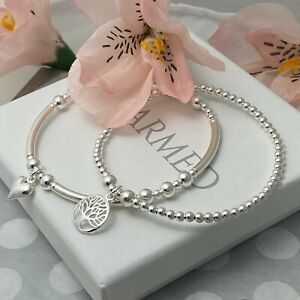 charmed sterling silver stacking stretch bracelet set heart and tree of life