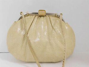 Judith Leiber Beige Karung Leather Pink Quartz Clutch Shoulder Bag