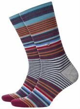 Burlington Mens Stripe Socks - Grey/Orange/Blue