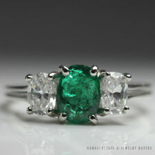 Oscar Heyman Emerald & Diamond Three Stone Platinum Ring Size 6.25 W/ Gem Paper