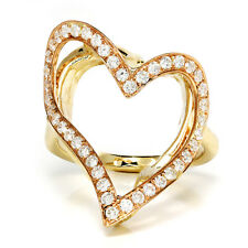 Open Heart Halo Curved Ring with Diamonds in Rose & Yellow Gold .61ctw