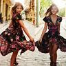 Women Summer Vintage Boho Long Maxi Party Beach Dress Floral Sundress Black NEW