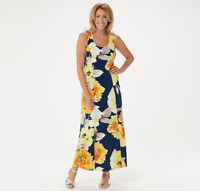 Susan Graver Petite Printed Liquid Knit Maxi Dress, Navy Yellow, SP