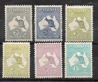 Australia 1915-17 Kangaroo values to 1s inc 3d Die II MLH/MH