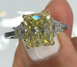 3.35Ct Radiant cut Yellow Diamond Engagement Ring Band 14K White Gold Over