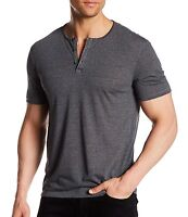 John Varvatos Star USA Men's Short Sleeve 3 Button Crew Henley Shirt Black