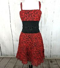 b7db293816 TRIPP NYC Small Red Cheetah Print Dress Fit Flare Padlock Belt Pinup  Rockabilly