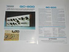 Pioneer QC-800 QUAD Amplifier Brochure 2 pages, Specs, Info, Article