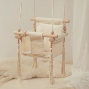 Baby Canvas Swing Chair Hanging Wood Children Swinging Rocking Baby Chair