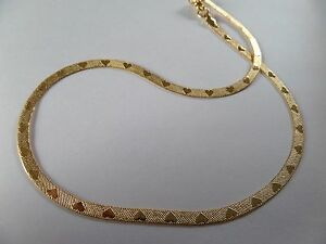 LOVE 'HEARTS' GOLD FLAT NECKLACE CHAIN 0.5 cm wide 46 cm long new , gift pouch