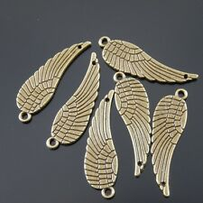 **38622 Antique Style Bronze Wing Feather Connector Alloy Charm Pendant 10pcs