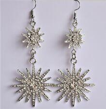 Silver Starburst Earrings, Star Earrings, Sun Star Earrings, Celestial Earrings