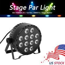 US RGBWA UV 6in1 Sound-Active Stage Washer 12x10w LED Stage Par Light Disco DMX