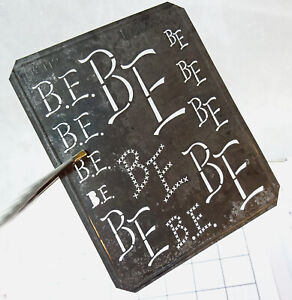 """BE B E EB monogram stencil initials embroidery antique 5"""" LARGE metal letters"""