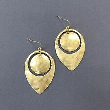 Bohemian Gold Finish Hammered Pointed Oval Shaped Drop Dangle Stylish Earrings