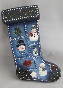Christmas Stocking Wooden Holiday Decor Blue Snowman Wall Plaque Handmade