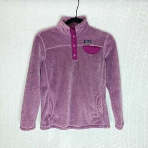 Patagonia Snap Button Fleece Jacket Long Sleeve Pullover Purple Size - L