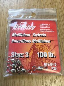 ABU Berkley McMahon Size 3, 100lb Swivels Pack Of 6. Predator/Sea/ Lure Fishing