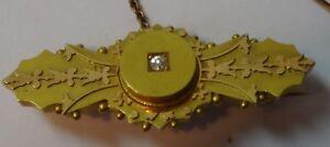 15ct gold & diamond Victorian mourning / bar BROOCH Chester halllmark 5g lovely