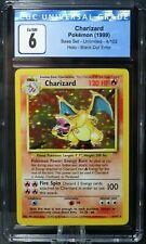1999 CHARIZARD BLACK DOT ⚫ ERROR Base Set Unlimited Holo Rare Pokemon # 4 CGC 6