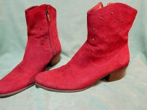 Womens size 9 ½ M Bandolino light red suede leather western boots shoes 9.5 zip